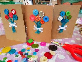 Button bouquet cards